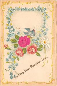 Riverton Iowa~Art Nouveau~Silk Rose~Forget-Me-Nots~1908 Embossed Postcard