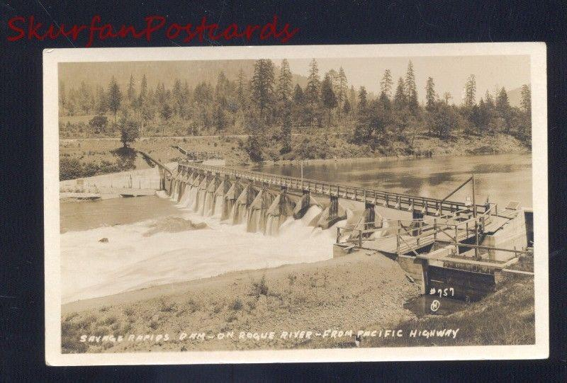 RPPC SAVAGE RAPIDS DAM ROGUE RIVER PACIFIC HIGHWAY CALIFORNIA PHOTO POSTCARD