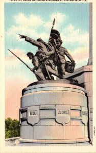 Illinois Springfield Infantry Group On Lincoln Monument Curteich