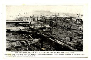 ME - Old Orchard Beach. Aug 15, 1907 Fire Ruins. Fiske House Chimney, distance