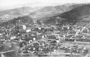 Roseburg Oregon~Birdseye Business District~Bridge~Homes~Downtown~1930s RPPC
