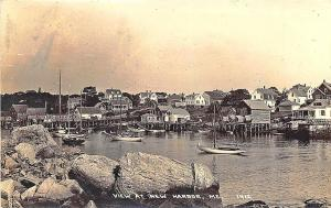 View at New Harbor ME Shoreline Boats Real Photo Postcard