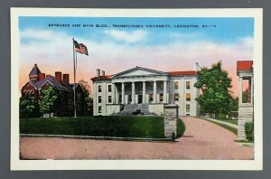 1940s Transylvania University Lexington KY Postcard Entrance Main Building Flag