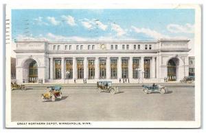 1917 Great Northern Depot, Minneapolis, MN Postcard