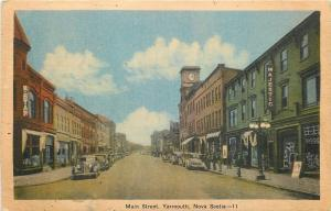Yarmouth Nova Scotia~Main Street~Majestic Theatre~W Star~1930-40s Cars~Postcard