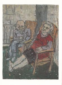 Leon Kossoff Two Seated Figures in Spring 1980 Pensioners Oil Painting Postcard
