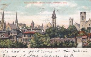 Iowa Des Moines Church Towers 1908