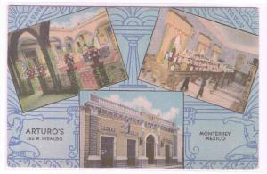 Arturo's Monterrey Mexico linen postcard