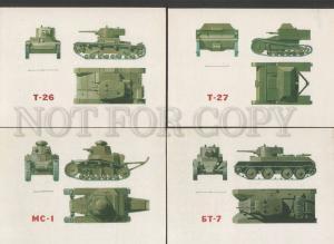 120091 Soviet TANK Collection of 16 Original old postcards