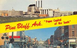 Pine Bluff Arkansas~Banner Greeting~Paper Factory~Main Street~Kress~1950s Cars