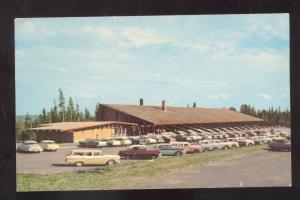YELLOWSTONE NATIONAL PARK WYOMING 1950's CARS CANYON LODGE POSTCARD