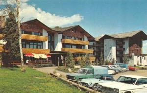 WY, Wyoming ALPENHOF LODGE~Soujourner Inn ROADSIDE Teton Village Chrome Postcard