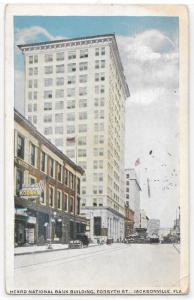 Heard National Bank Building Jacksonville FL Ground Level Street View Postcard