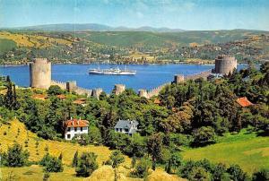Turkey Istanbul The Fortresse and the Bosphorus Rumeli Hisar ve Bogaz Ship