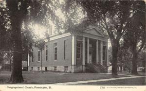 Farmington Illinois Congregational Church Street View Antique Postcard K21756