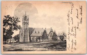 Ossining, New York Postcard FIRST BAPTIST CHURCH Building / Moon ALBERTYPE 1905