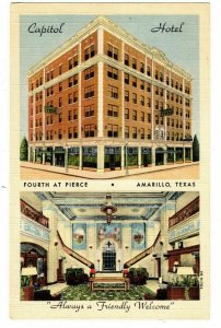 Amarillo TX Postcard Capitol Hotel Multiview Exterior & Lobby Views #75379