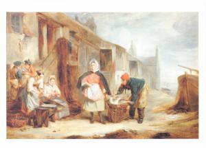 Postcard Art A SCENE AT NEWHAVEN (1841) by Alexander Fraser Snr MU2660 #210