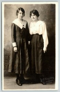 St Thomas (Also Dutton) ON Cute Teen Girl & Sister Pose For Cantelon~RPPC c1918