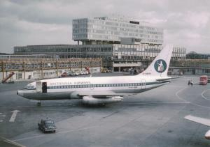 Britannia Airways Boeing 737 G-AWSY, at London Gatwick Airport Postcard