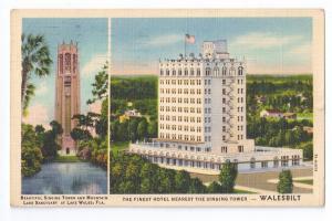 Walesbilt Hotel Singing Tower Lake Wales FL 1938 Linen PC