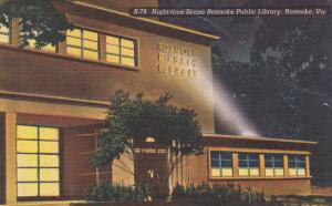 Night-Time Scene Roanoke Public Library, ROANOKE, Virginia, 1930-1940s
