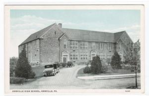 High School Cars Annville Pennsylvania 1920s postcard