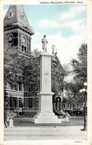 Clarinda Iowa Soldiers Monument Street View Antique Postcard K83017