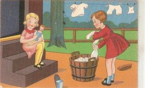 Children. Girls Laundry time Colourful vintage Dutch postcard