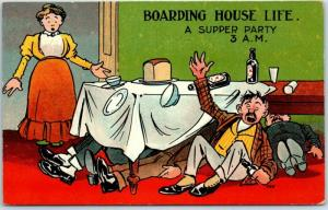 1911 Drinking / Alcohol Comic Postcard Boarding House Life 3.a.m. Supper Party