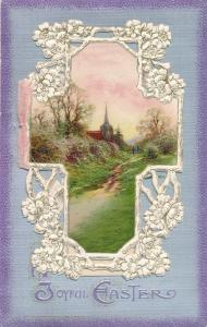 Joyful Easter Greetings - Card on Card - Rural Scene and Lilies - DB