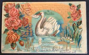"Postcard Used ""Birthday Greetings"" embossed Swan No stamp but PM LB"