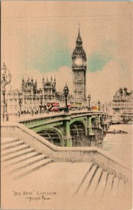 London UK Big Ben Clock Tower Sketch Postcard unused (25855)