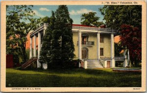 Columbus, Georgia Postcard ST. ELMO Mansion View Curteich Linen c1940s