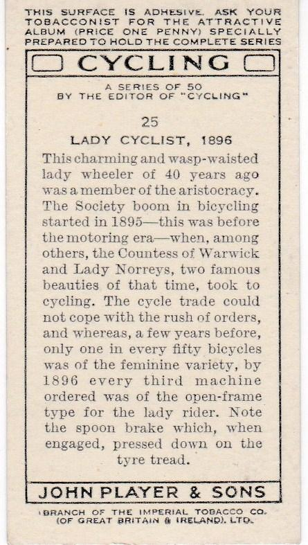 Cigarette Cards Players CYCLING No 25 Lady Cyclist, 1896