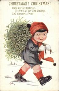 Christmas - Little Boy Brining Home the Tree c1920 Postcard