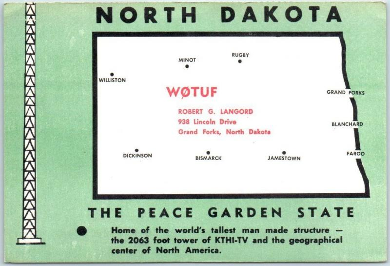 Grand Forks, North Dakota QSL Postcard Ham Radio Card Robert Langord