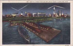 Ohio Cleveland East 9th STreet Pier and Skyline At Night 1935 Curteich