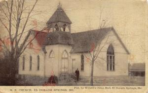 El Dorado Springs Missouri~Man on Steps Methodist Episcopal ME Church~c1912 PC