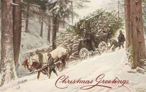 Ludwig Fromme. Horses. driving cart with wood  Tuck snow-bound Ser. PC # 9997