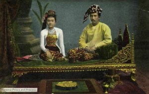 burma, Burmese Prince and Princess (1910s) D.A. Ahuja Postcard No. 20