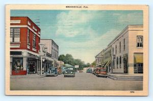 Postcard FL Brooksville Downtown Business Section Street View Drug Store E20