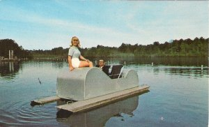 Beautiful Girl on Pedal Boat, Sesquicentennial State Park, SC, 1960's, Funny