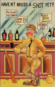 Military Comic Soldier Rifle Bar Alcohol Haven't Missed A Shot Yet Postcard G75