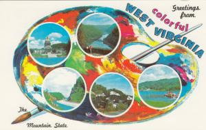 Greetings from WEST VIRGINIA, 1960s; The Mountain State, Artist Palette, 5-views