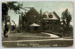 Muscatine Iowa~Hershey Hospital~Curved Drive Under Porte Cochere~1909 Blue Sky