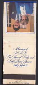Matchbook Cover Marriage of HRH The Prince of Wales and Lady Diana Spencer 1984