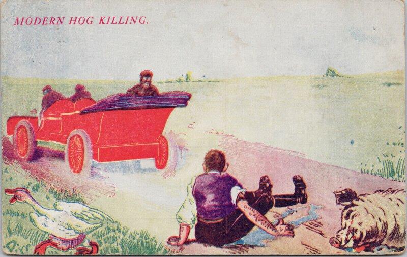 Modern Hog Killer Automobile Car Runs Over Pig AH Postcard G91