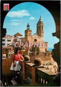 Postcard Modern Sitges the church