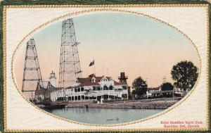 Royal Hamilton Yacht Club Ontario Gold Frame Postcard